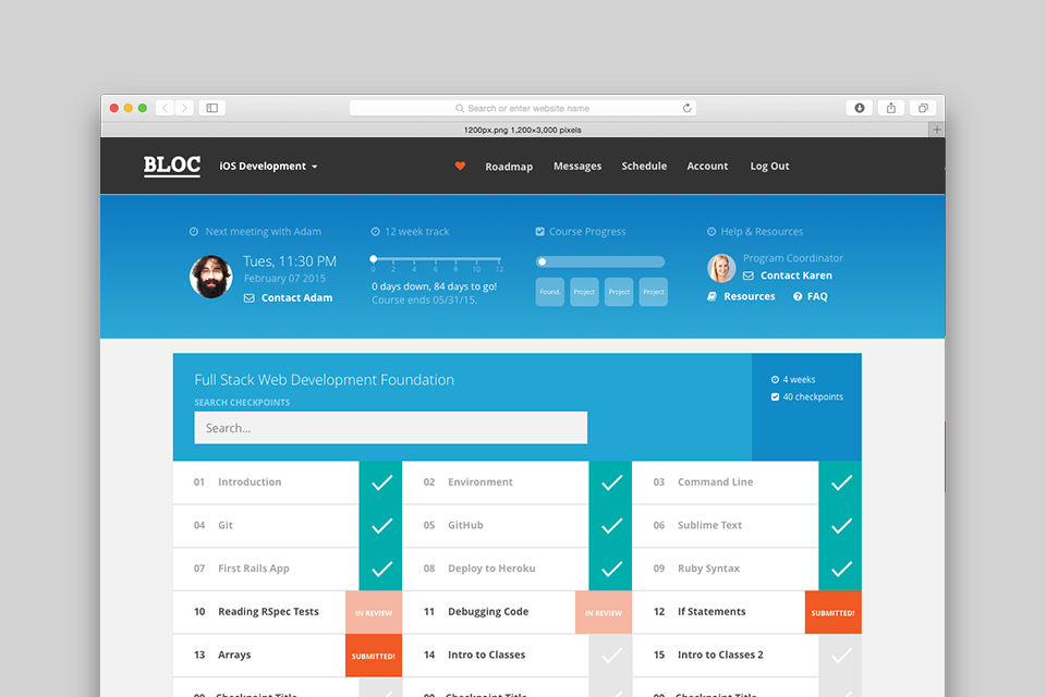 Screenshot of the dashboard at Bloc